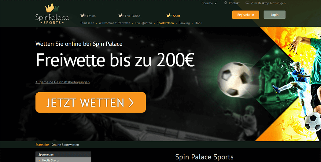 Der Spin Palace Sports Homepage Screenshot